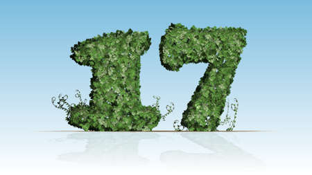 Number 17 created of green ivy leaves