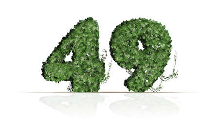 Number 49 created of green ivy leaves - isolated on a white background
