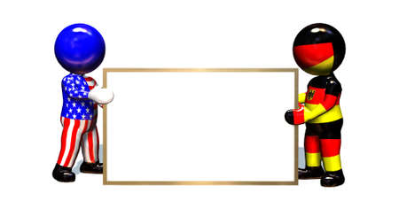 empty big white board - held by 3D people - isolated on white background Banco de Imagens - 119331889