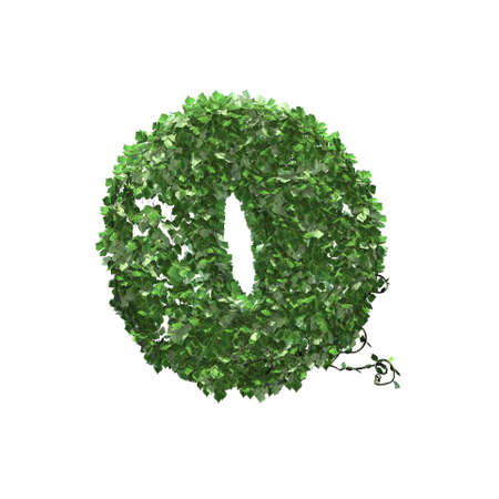 Number 0 created of green ivy leaves - isolated on a white background