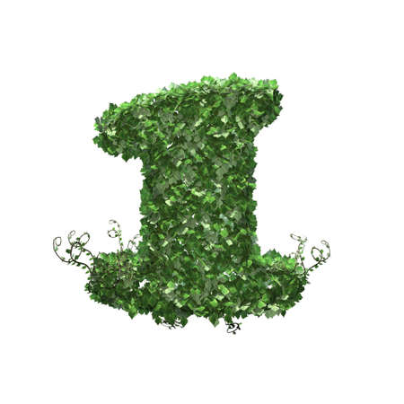 Number 1 created of green ivy leaves - isolated on a white background
