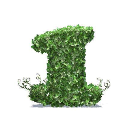 Number 1 created of green ivy leaves with shadow on the floor - isolated on a white background