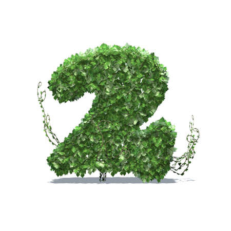 Number 2 created of green ivy leaves with shadow on the floor - isolated on a white background