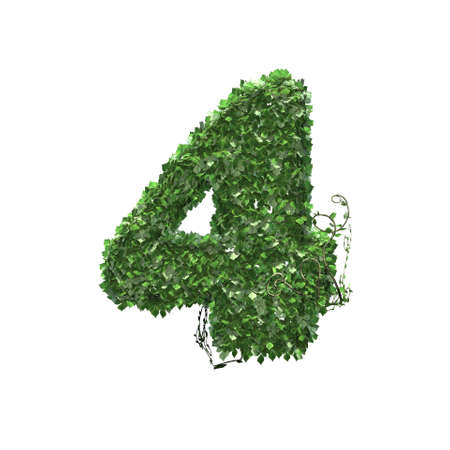 Number 4 created of green ivy leaves - isolated on a white background