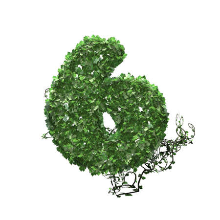 Number 6 created of green ivy leaves - isolated on a white background