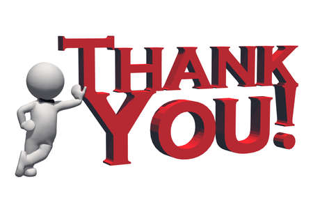 Thank You - 3D text in red and 3D people - isolated on white background