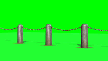 chains blockade - isolated on a green screen background