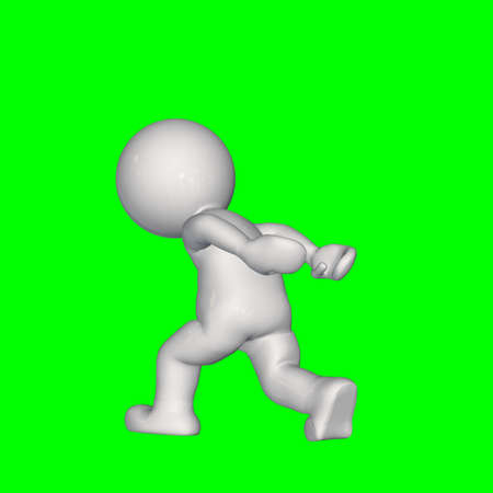 3D People - Carry on the back - isolated on green screen