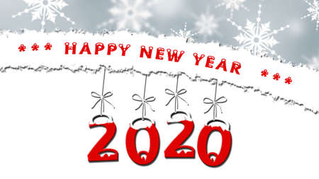 Year change to 2020, snowflakes on background, text - Happy New Year