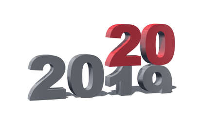 New Year from 2019 to 2020 - colored 3D numbers with shadow on a white background