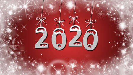 Year change to 2020 greeting card - stars on red background Reklamní fotografie