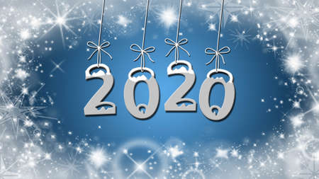 Year change to 2020 greeting card - stars on blue background