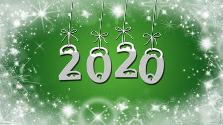 Year change to 2020 greeting card - stars on green background