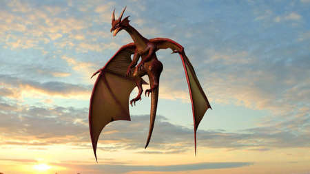 Flying dragon - isolated on a sky background in sunset