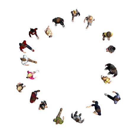 people - arranged in number 0 - top view without shadow - isolated on white background