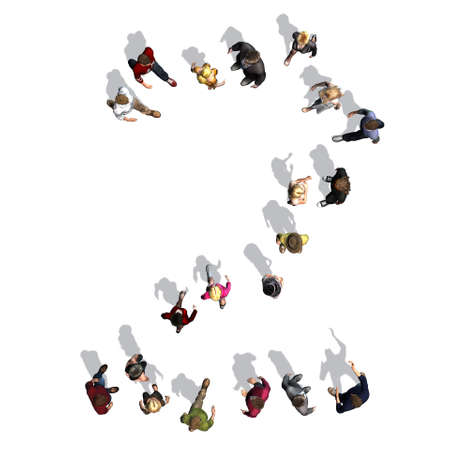 people - arranged in number 2 - top view with shadow - isolated on white background