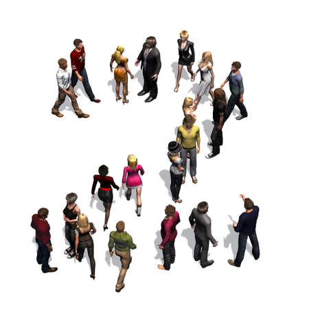 people - arranged in number 2 - with shadow - isolated on white background
