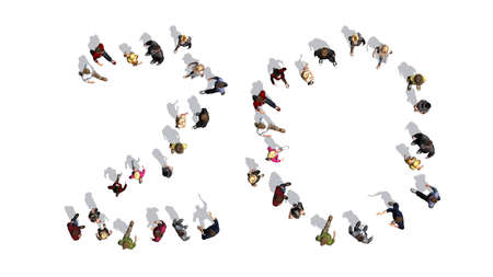 people - arranged in number 20 - top view with shadow - isolated on white background Reklamní fotografie