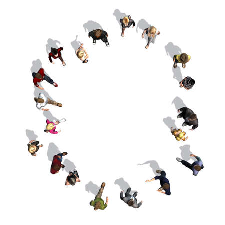 people - arranged in number 0 - top view with shadow - isolated on white background