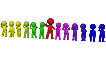 3D people - arranged in a line - isolated on white background