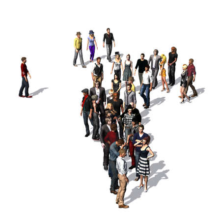 group of people with shadow on the floor - isolated on white background Reklamní fotografie