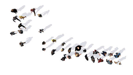 group of people with shadow on the floor - top view - isolated on white background