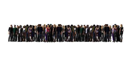 große Menschenmenge - isoliert auf weißem Hintergrund Standard-Bild