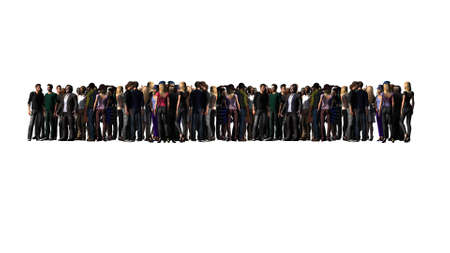 large crowd of people - isolated on a white background Stock Photo