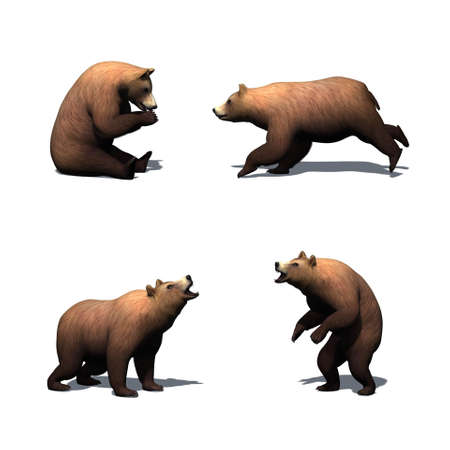 Set of brown bear in different movements with shadow on the floor - isolated on white background Stock Photo