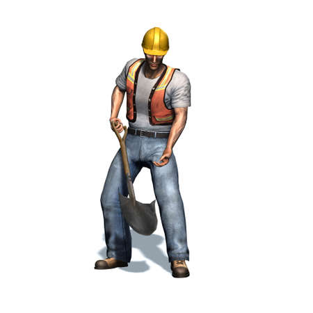 Construction worker works with shovel - isolated on white background - 3D illustration Stockfoto