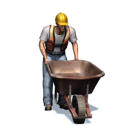 Laborer with wheelbarrow - isolated on white background - 3D illustration Stockfoto