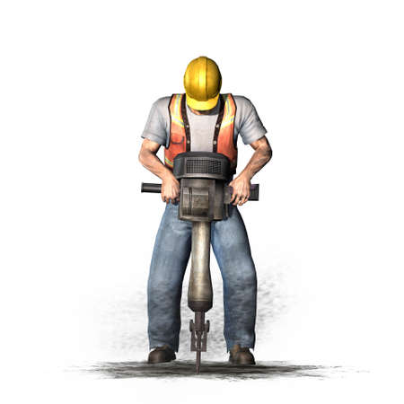Laborer works with jackhammer - isolated on white background - 3D illustration
