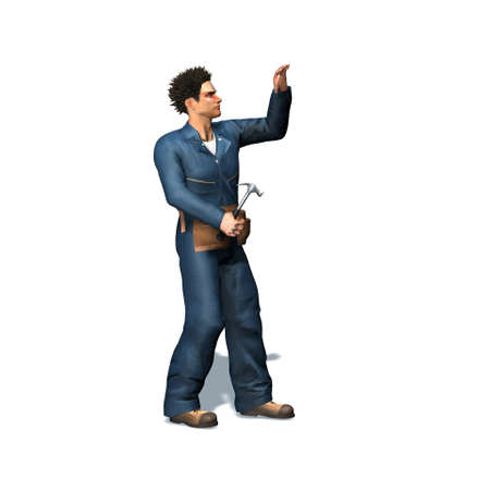 Repairman works with hammer - isolated on white background - 3D illustration