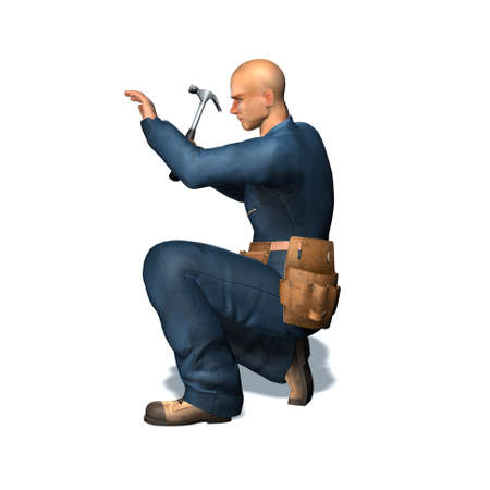 Worker with hammer - isolated on white background - 3D illustration