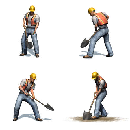 Set of construction worker works with shovel - different views - isolated on white background - 3D illustration