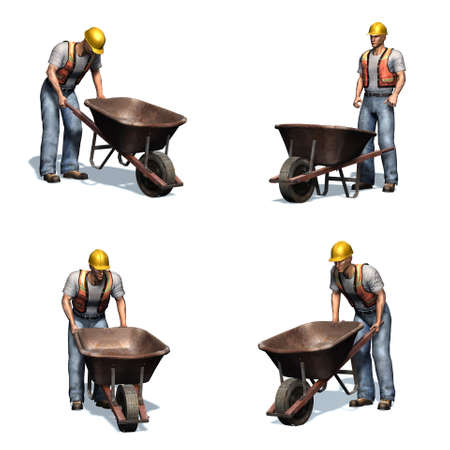 Set of Laborer with wheelbarrow - different views - isolated on white background - 3D illustration Stockfoto
