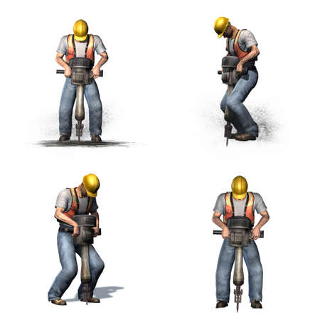 Set of Laborer works with jackhammer - different views - isolated on white background - 3D illustration Stockfoto