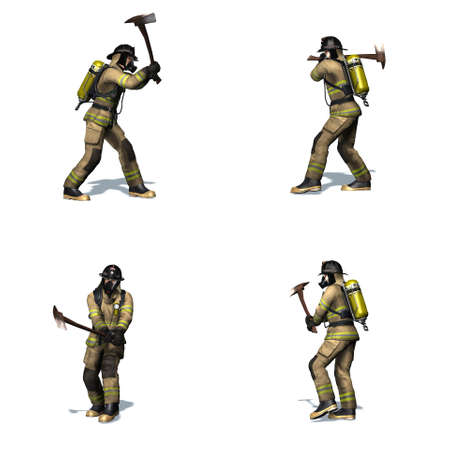Set of Fire fighter breaks door with axe - different views - isolated on white background - 3D illustration