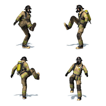 Set of Fire fighter kicks the door open - different views - isolated on white background - 3D illustration