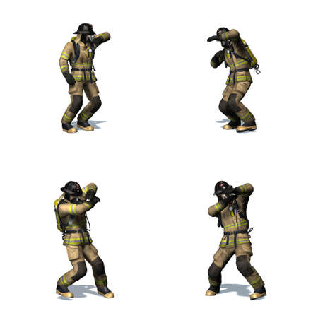 Set of Fire fighter retreats from flame - different views - isolated on white background - 3D illustration