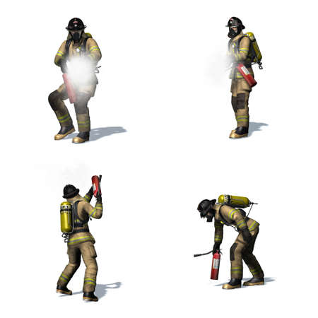 Set of Fire fighter with fire extinguisher - different views - isolated on white background - 3D illustration