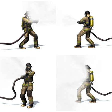 Set of Fire fighter with water hose - different views - isolated on white background - 3D illustration Stock fotó