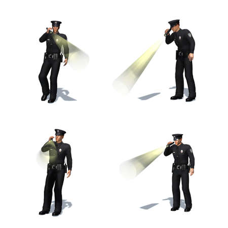 Set of Police officer checks with flashlight - different views - isolated on white background - 3D illustration
