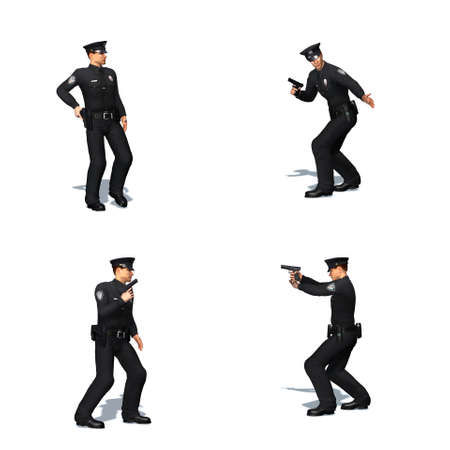 Set of Police officer with pistol - different views - isolated on white background - 3D illustration Stock fotó