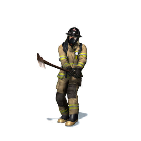Fire fighter breaks door with axe - isolated on white background - 3D illustration Standard-Bild - 129251899