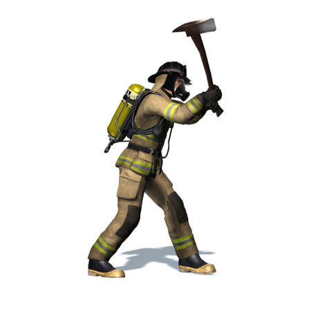 Fire fighter breaks door with axe - isolated on white background - 3D illustration Stock fotó