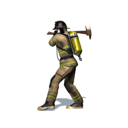 Fire fighter breaks door with axe - isolated on white background - 3D illustration Standard-Bild - 129251903