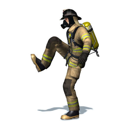 Fire fighter kicks the door open - isolated on white background - 3D illustration