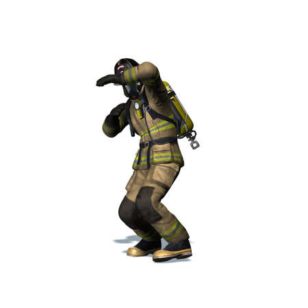 Fire fighter retreats from flame - isolated on white background - 3D illustration Standard-Bild - 129251921
