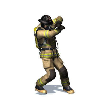Fire fighter retreats from flame - isolated on white background - 3D illustration Standard-Bild - 129251944